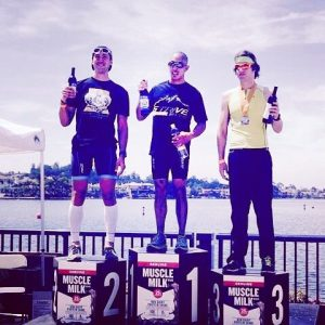 Kevin on the second place podium at OC Triathlon 2016.