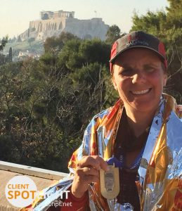 Julie was all smiles after finishing her 10th full marathon, but her road to Athens gold wasn't easy.