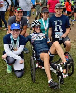 John and a few Team Rausch PT teammates at the 2017 San Diego Triathlon Challenge, which helps raise money to purchase adaptive equipment for Challenged Athletes like John.